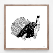 Load image into Gallery viewer, turkey, turkey illustration, turkey print, turkey art, majasbok, art print, print, line drawing, animal, animal print, black and white