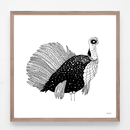 turkey, turkey illustration, turkey print, turkey art, majasbok, art print, print, line drawing, animal, animal print, black and white