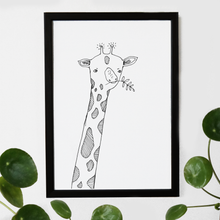 Load image into Gallery viewer, giraffe, black and white print, giraffe illustration, giraffe print, giraffe art, majasbok, art print, print, line drawing, giraffe animal, animal print