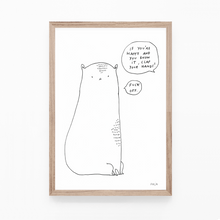 Load image into Gallery viewer, sad cat, illustration, cat print, fuck, cat art, majasbok, art print, print, line drawing, animal print