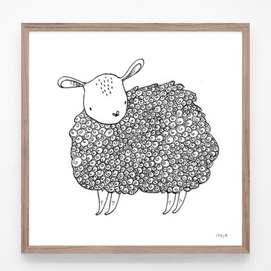 sheep, black and white print, baby sheep, sheep illustration, sheep print, sheep art, majasbok, art print, print, line drawing, baby animal, animal print
