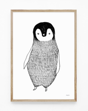 Load image into Gallery viewer, penguin, baby penguin, penguin illustration, penguin print, penguin art, black and white print, majasbok, art print, print, line drawing, baby animal, animal print