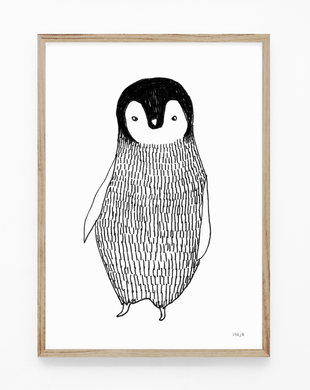 penguin, baby penguin, penguin illustration, penguin print, penguin art, black and white print, majasbok, art print, print, line drawing, baby animal, animal print