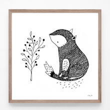 Load image into Gallery viewer, fox, flower, fox and flower print, fox illustration, fox print, fox art, majasbok, art print, print, line drawing, baby animal, animal print