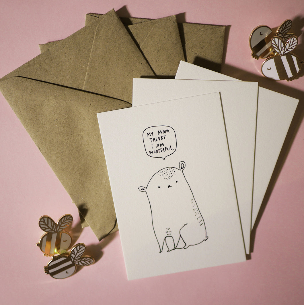 My mom thinks I´m wonderful - Set of 3 Mini Cards