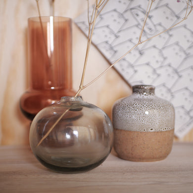 mini glass vase grey