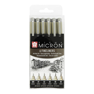 Pigma micron set of 6 fineliners