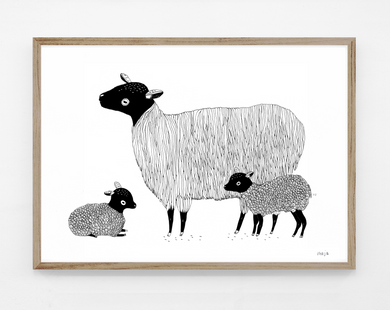Sheep with baby, print
