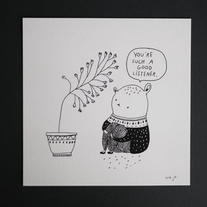 comic, art print, black and white, illustration, majasbok, life quote, cat, cute, perfect, plants, listener, talking to plants