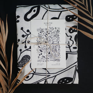 Flowers and bees - tea towel