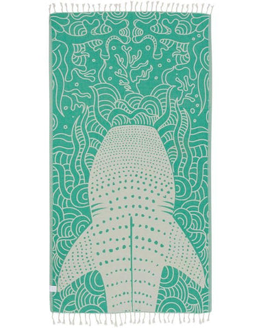 Green Whale Shark Towel