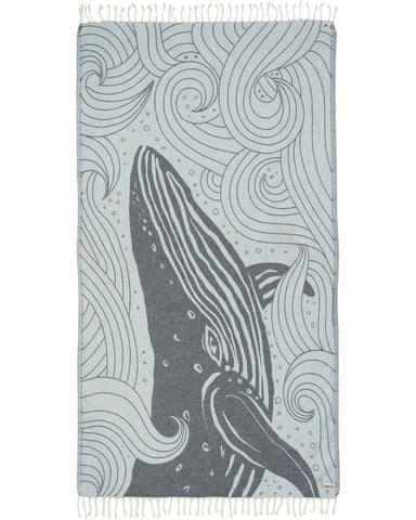Blue Swirl Waves Whale Towel