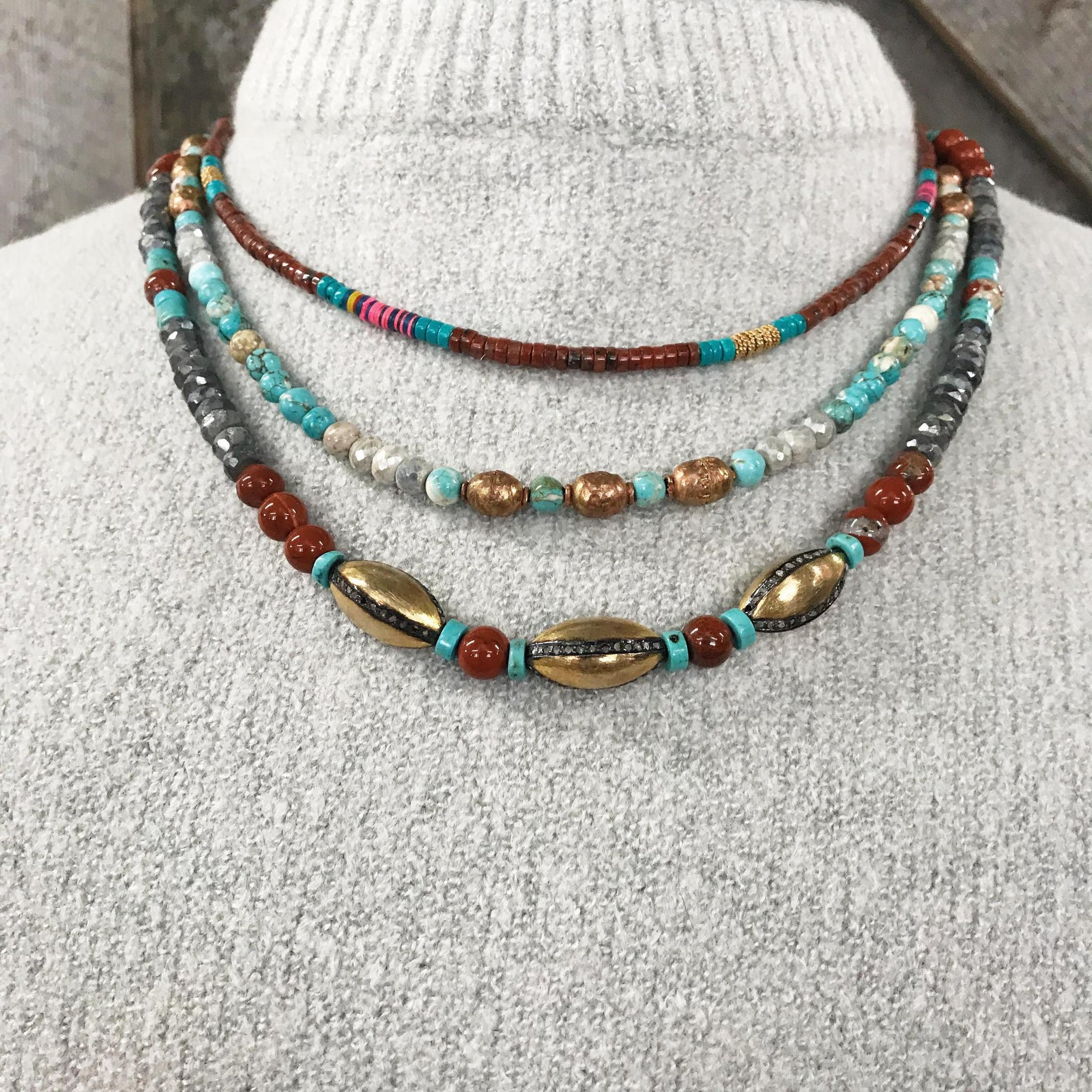 Three Strand Red Jasper Layered Necklace