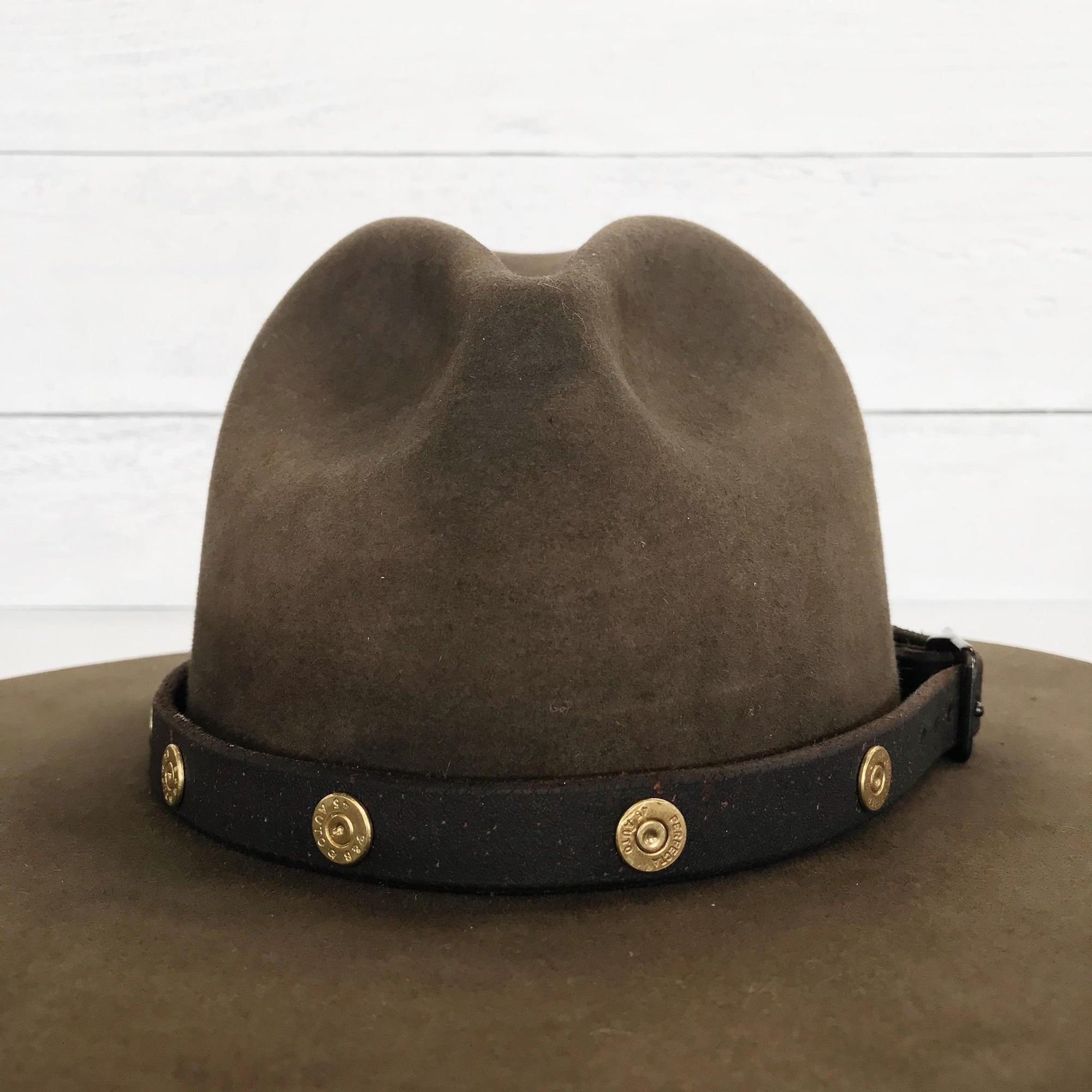 Brown Leather Bullet Hat Band