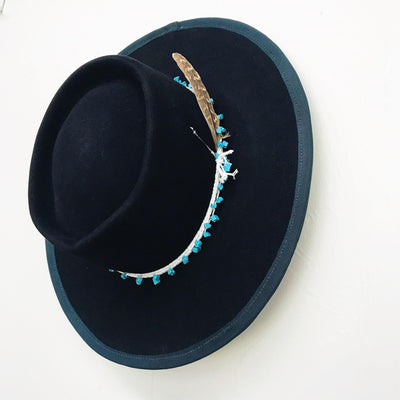 Black Bolero Hat with Turquoise