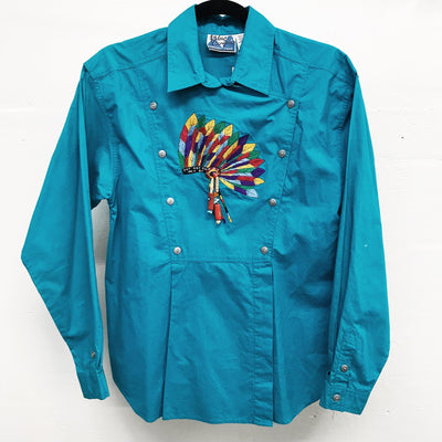 Vintage Turquoise Blouse with Beaded Detail