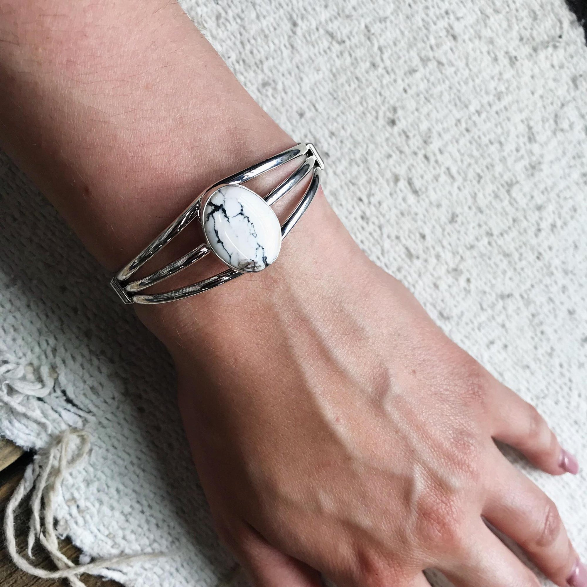 White Buffalo Sterling Silver Cuff