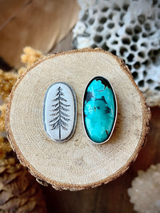 Hubei Turquoise Tall Pines ring (made to order)