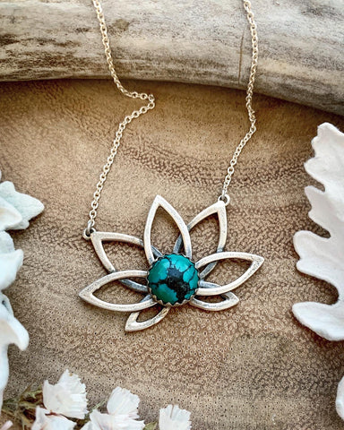 Samsara Lotus Necklace-Turquoise