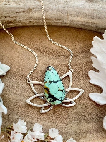 Samsara Lotus Necklace-Hubei Turquoise