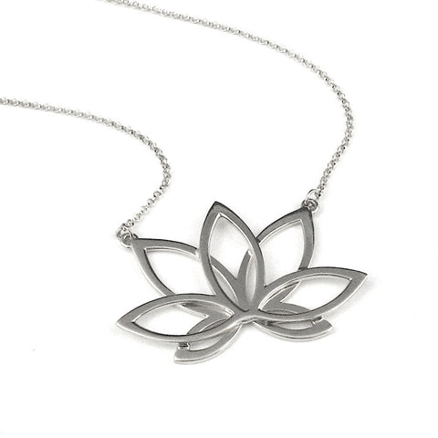 "Lotus Necklace - 1.5"" Silver"