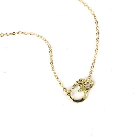 14k Dainty Om Necklace