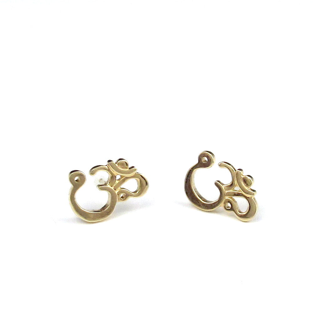14k Om Post Earrings - Large
