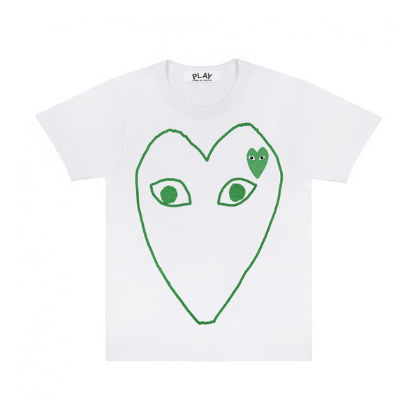 Womens T-shirt Big Green Sketch Heart