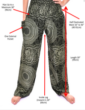 Load image into Gallery viewer, Bohotusk Kids Black Elephant Print Elasticated Smocked Waist Harem Pants (13 - 15 Years)