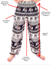 Load image into Gallery viewer, Bohotusk Kids Red Elephant Herd Print Elasticated Smocked Waist Harem Pants (9 - 12 Years)