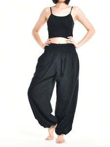 Bohotusk Womens Autumn Plain Black Cotton Harem Pants S/M to L/XL