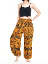 Load image into Gallery viewer, Bohotusk Womens Autumn Black Orange Maze Cotton Harem Pants S/M to L/XL