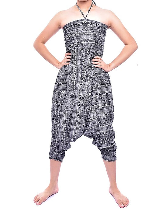 Bohotusk Red Chill Stripe Jump Suit 2 in 1 Low Drop Crotch Harem Pants Design Small / Medium (UK Size 8 - 12)