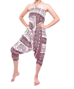 Bohotusk Red Elephant Herd Jump Suit 2 in 1 Low Drop Crotch Harem Pants Design Small / Medium (UK Size 8 - 12)