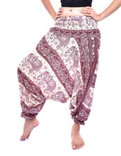Load image into Gallery viewer, Bohotusk Red Elephant Herd Jump Suit 2 in 1 Low Drop Crotch Harem Pants Design Small / Medium (UK Size 8 - 12)