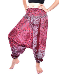 Bohotusk Blue Sun Glow Jump Suit 2 in 1 Low Drop Crotch Harem Pants Design Small / Medium (UK Size 8 - 12)