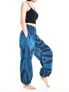 Bohotusk Womens Autumn Blue Swirl Cotton Harem Pants S/M to L/XL