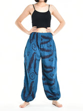 Load image into Gallery viewer, Bohotusk Womens Autumn Blue Swirl Cotton Harem Pants S/M to L/XL