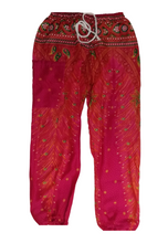 Load image into Gallery viewer, Bohotusk Pink Peacock Print Drawstring Waist Harem Pants (6 - 8 Years)