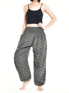 Bohotusk Womens Autumn Black Zig Zag Cotton Harem Pants S/M to L/XL