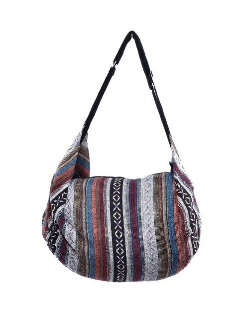 Bohotusk Striped Multi Coloured Cotton Canvas Duffle Bag