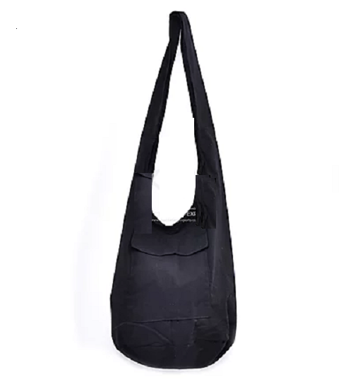 Bohotusk Solid Plain Black Cotton Canvas Sling Shoulder Bag