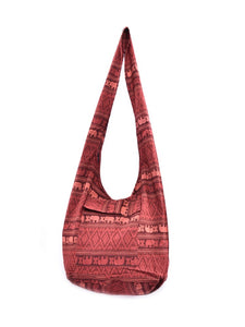 Bohotusk Brick Red Elephant Cotton Canvas Sling Shoulder Bag