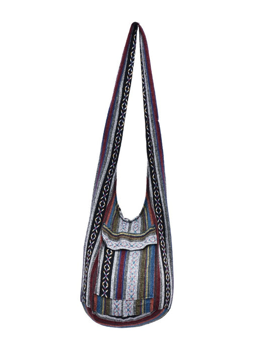 Bohotusk Striped Multi Coloured Cotton Canvas Sling Shoulder Bag