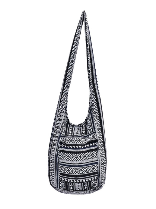 Bohotusk Black Pattern Cotton Canvas Sling Shoulder Bag