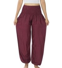 Load image into Gallery viewer, Bohotusk Dark Red Plain Elasticated Smocked Waist Womens Harem Pants S/M to 3XL