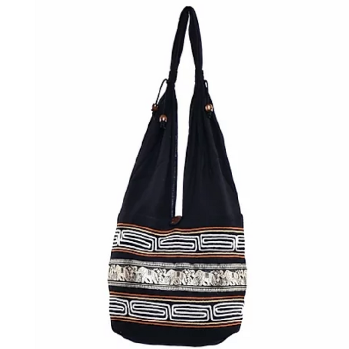 Bohotusk Black Gold Cotton Thai Elephant Hobo Shoulder Bag