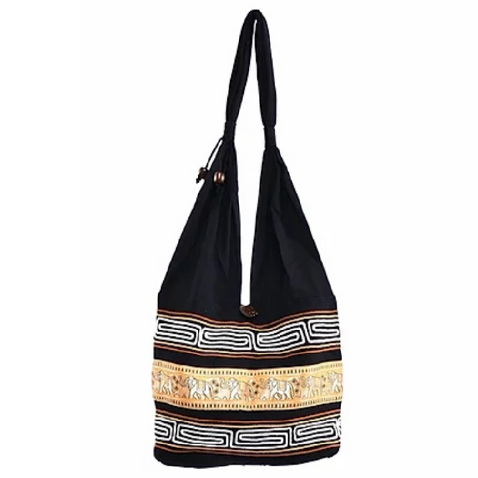 Bohotusk Yellow Gold Cotton Thai Elephant Hobo Shoulder Bag