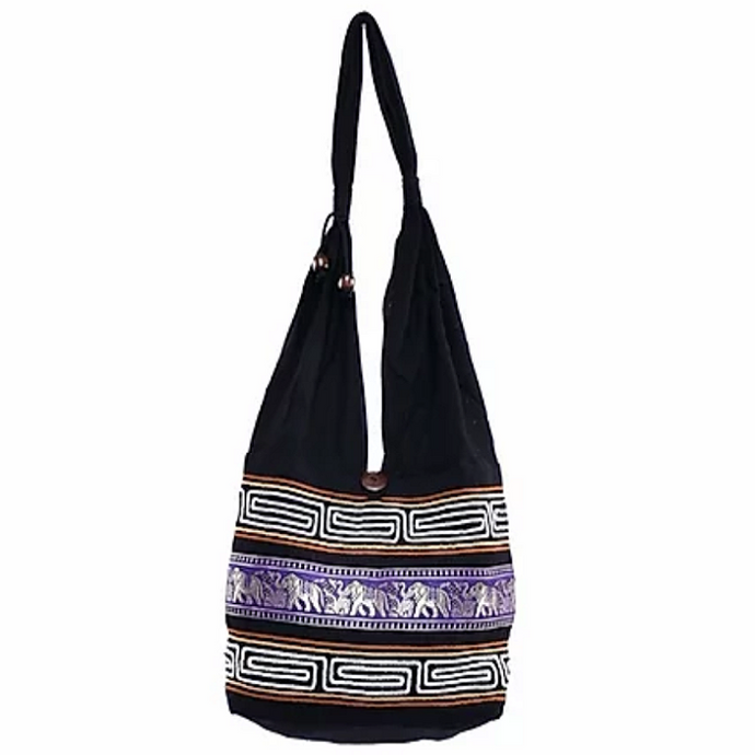 Bohotusk Purple Cotton Thai Elephant Hobo Shoulder Bag