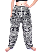 Load image into Gallery viewer, Bohotusk Black Elephant Calf Print Harem Pants Tie Waist